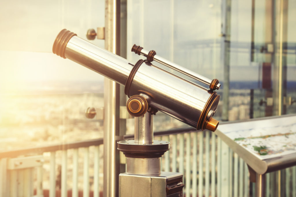 Telescope on top of high building.