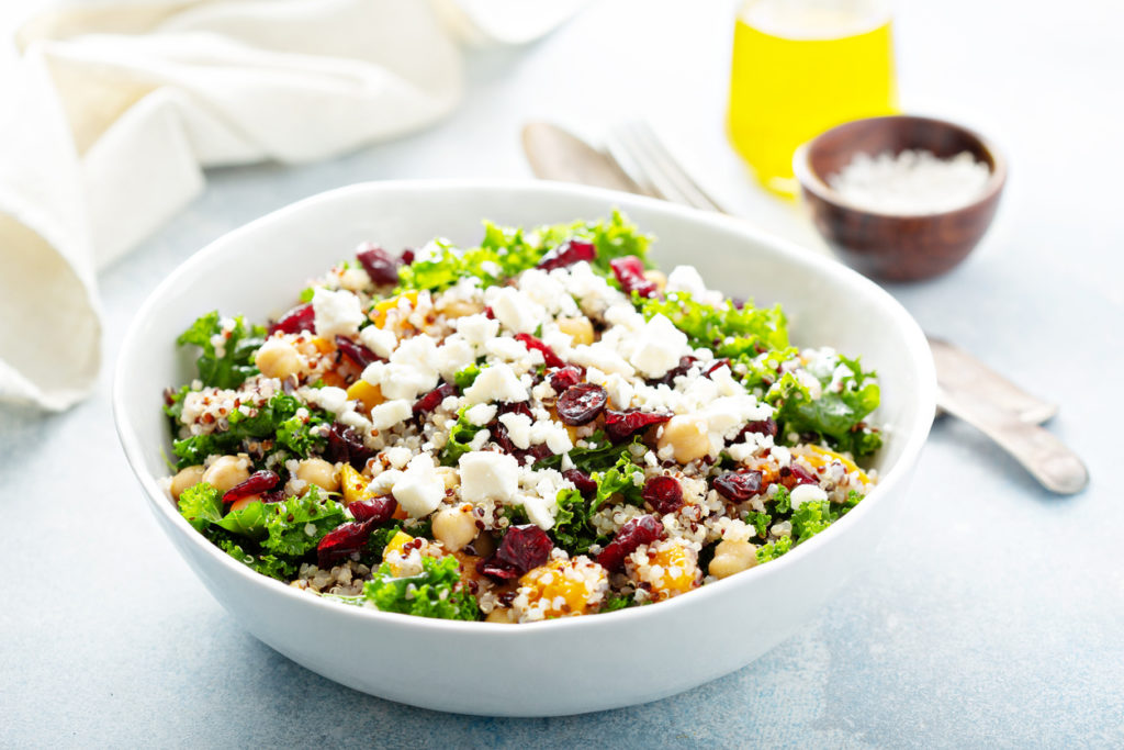 Kale and quinoa salad with chickpeas and feta