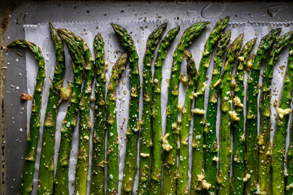 Roasted asparagus spears.